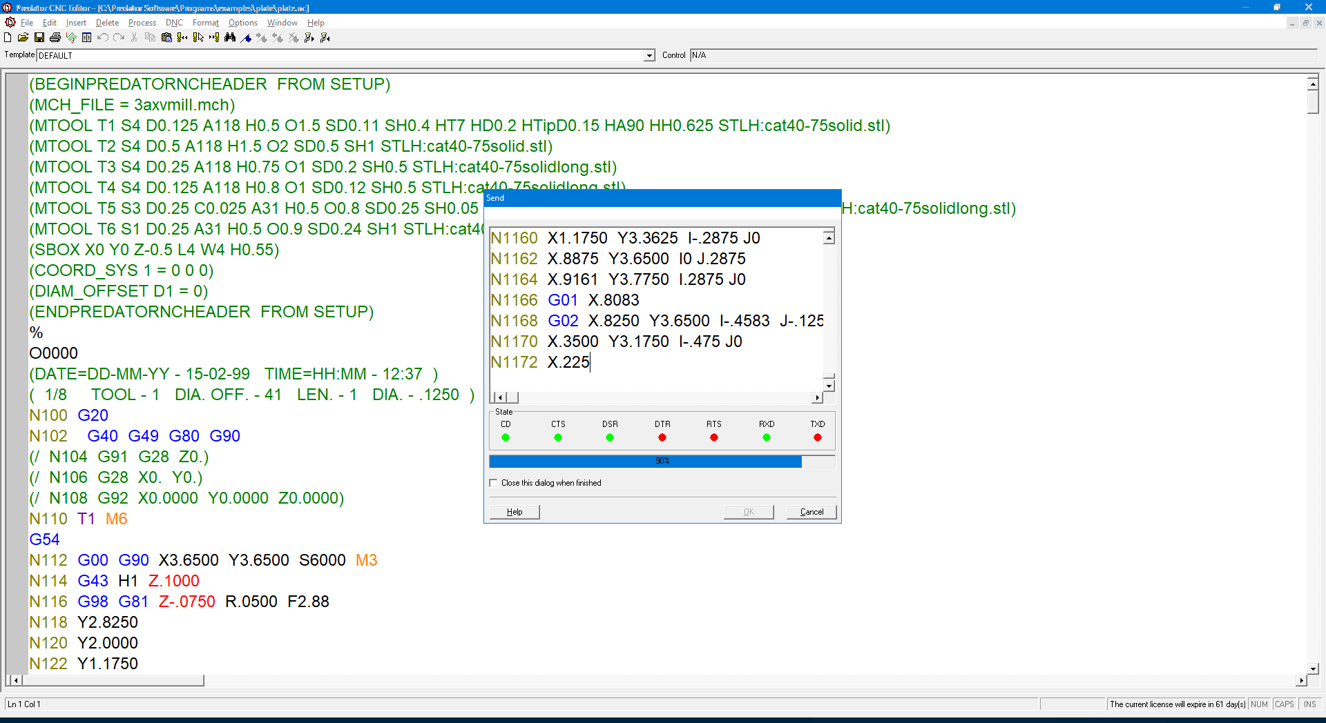 Predator CNC Editor with RS232 communications
